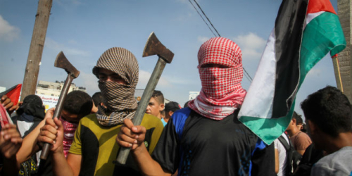 Gaza-palestinian-protest-ax-knife-flag